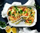 Linguine with garlic prawns