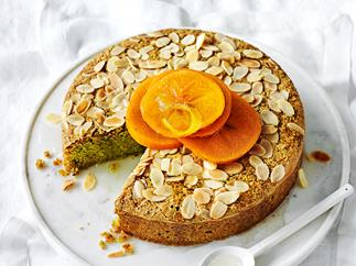 Pistachio and almond cake with poached persimmons