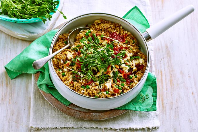 """**[Pearl barley risotto with haloumi crumbs](https://www.womensweeklyfood.com.au/recipes/pearl-barley-risotto-with-haloumi-crumbs-1702