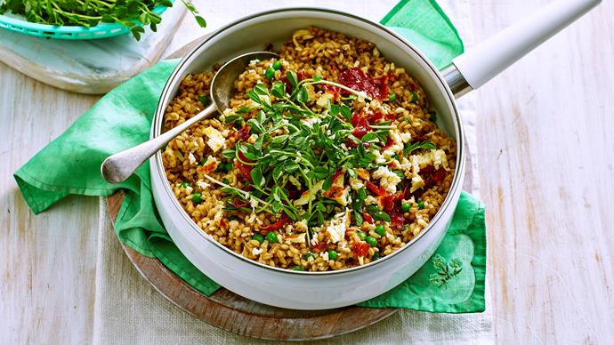 Pearl barley risotto with haloumi crumbs
