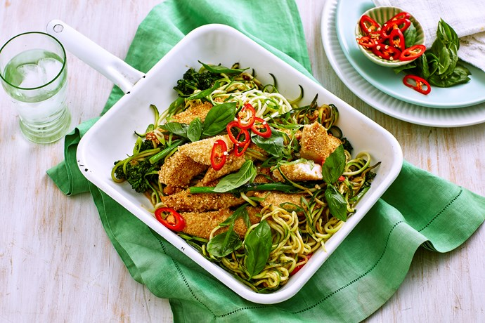 Sesame crusted chicken breast with lemon zoodles