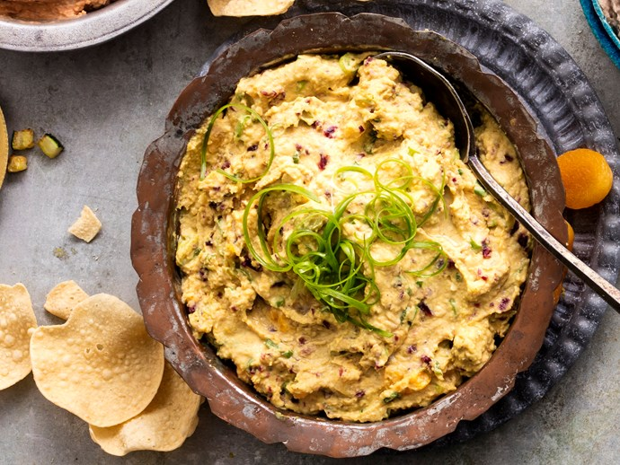 """**[Curried hummus with craisins and apricots](http://www.foodtolove.com.au/recipes/curried-hummus-with-craisins-and-apricots-32682