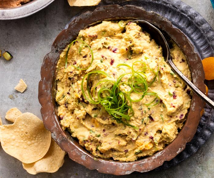 Curried hummus with craisins and apricots