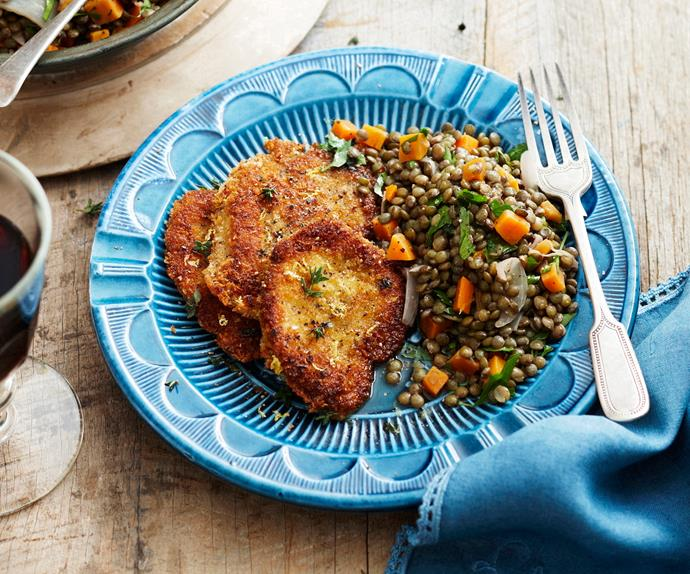 Parmesan and lemon crumbed chicken with lentil salad