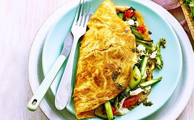 Spring vegetable omelettes