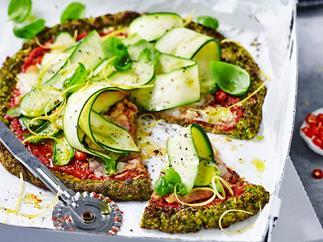 Broccoli 'pizza' with zucchini salad