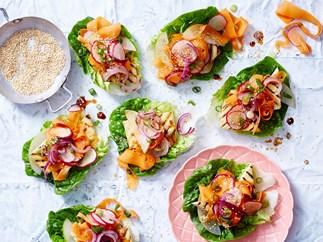 Tofu and carrot kimchi lettuce wraps