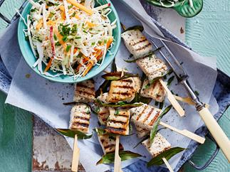 snapper and bay leaf skewers with root vegetable slaw