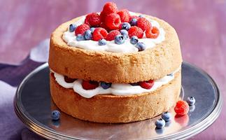 Gluten-free mixed berry and vanilla sponge layer cake