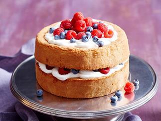 Gluten-free mixed berry and vanilla layer cake