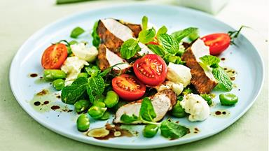 Grilled balsamic chicken with broad bean salad