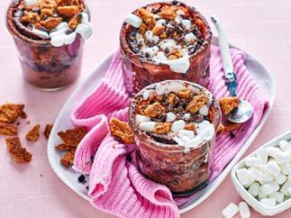 Chocolate s'mores microwave mug cake
