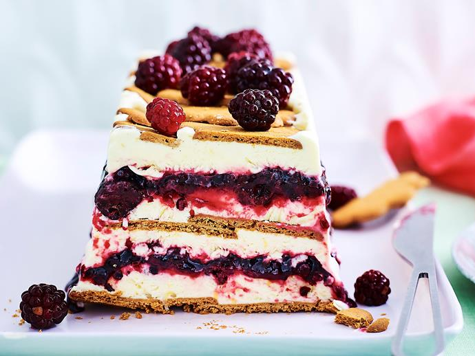 "This delicious [lemon frozen yoghurt cake](https://www.womensweeklyfood.com.au/recipes/lemon-and-blackberry-frozen-yoghurt-cake-1734|target=""_blank"") is studded with juicy blueberries and layered with crumbly ginger-flavoured biscuits to create the perfect balance of sweet and tart."