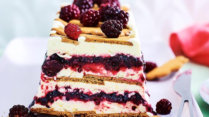 Lemon and blackberry frozen yoghurt cake
