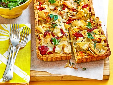 Potato and feta tart with herb pastry