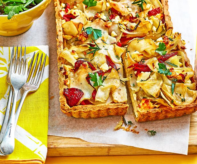 Potato and feta tart with herby pastry