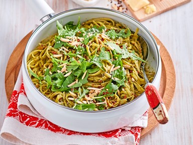 Linguine with rocket pesto, anchovy and chilli