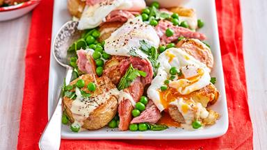 Crushed new potato, ham and egg salad