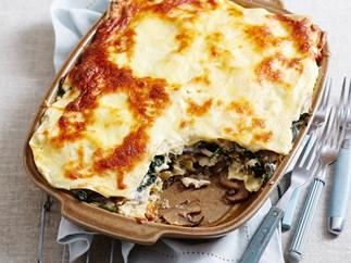 Mushroom and spinach lasagne