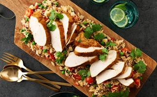 Moroccan spiced chicken with quinoa and brown rice