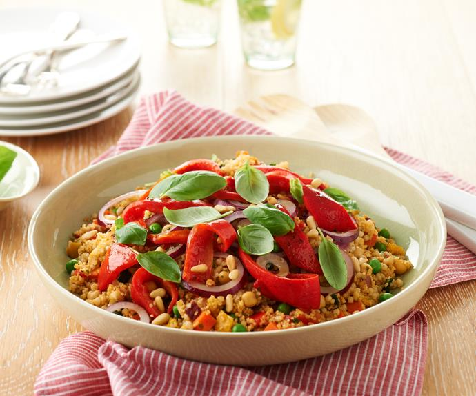 Pearl couscous with capsicum, red onion and pine nuts