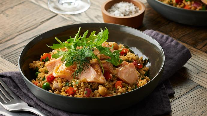 Pearl couscous with confit salmon
