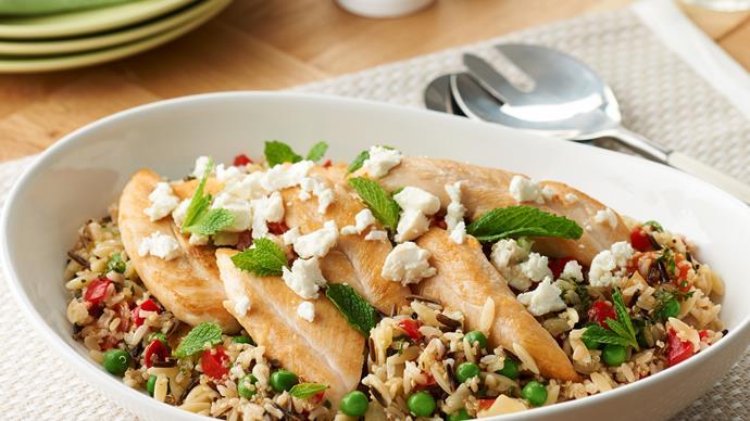 Quinoa with brown rice, chicken tenderloins, feta and lemon dressing