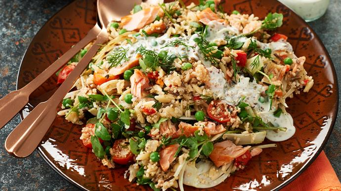Quinoa with brown rice, hot smoked salmon, fennel and watercress salad