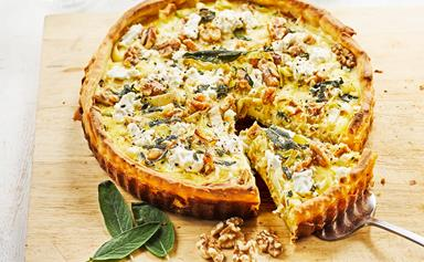 Leek, goat's cheese, walnut and sage tart