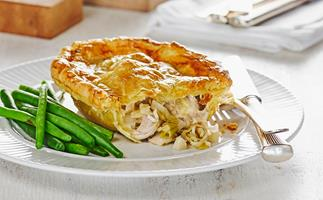 Chicken, leek and brie pies