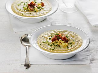 Leek, cauliflower and cheddar soup with crisp prosciutto