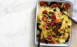 Spaghetti with roasted olives, chorizo and haloumi