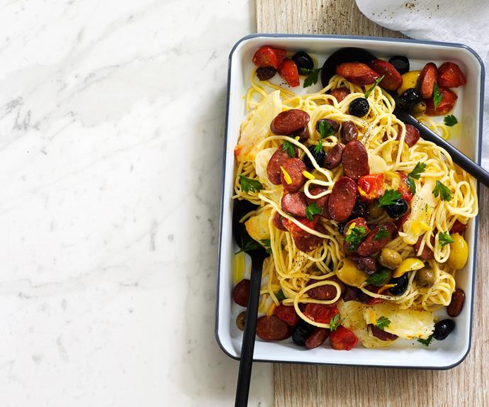 Spaghetti with roasted olives, chorizo and haloumi