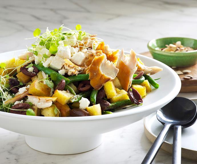 Warm olive and smoked fish salad