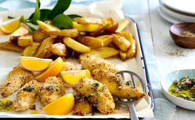 Marinated crispy fish strips with oven-baked chips