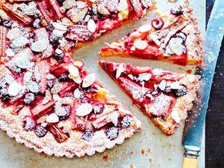 Rhubarb and raspberry frangipane tart