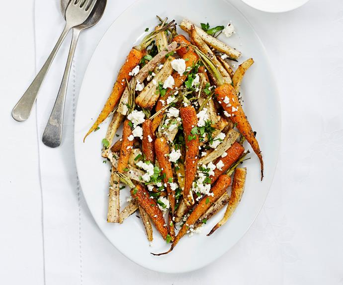 Roasted carrots and parsnips with feta and sumac
