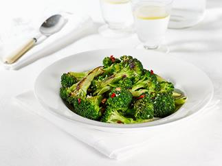 Chargrilled broccoli with lemon, chilli and garlic