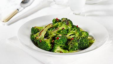 Char-grilled broccoli with lemon, chilli and garlic