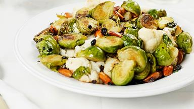 Roasted cauliflower and Brussels sprouts with balsamic syrup