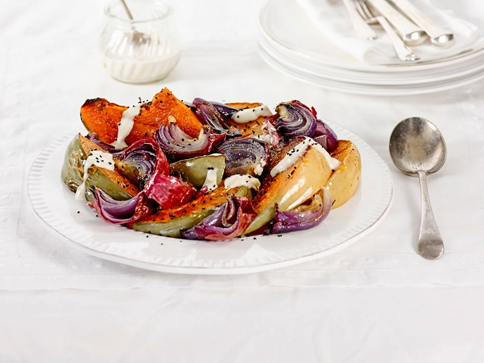Roasted pumpkin and red onion with tahini dressing