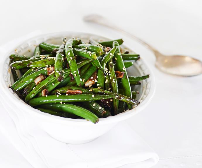 Green beans with garlic and ginger miso