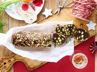 Christmas chocolate nut salami