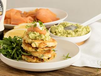 Corn and ricotta fritters with avocado and smoked salmon