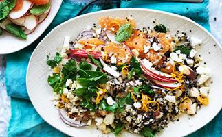 Five grain salad with feta and oranges