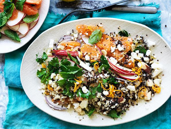 "[**Five grain salad with feta and oranges**](https://www.womensweeklyfood.com.au/recipes/five-grain-salad-with-feta-and-oranges-1774|target=""_blank"") Packed full of flavour and textures, this delicious salad is super filling and nutritious."