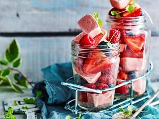 Frozen berry yoghurt cubes
