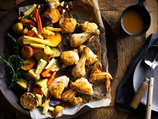 Roast tray-baked chicken with winter vegetables