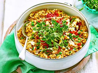 Pearl barley and pea risotto with haloumi crumbs