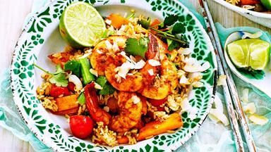 Coconut-fried rice with tom yum prawns